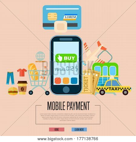 Mobile payment concept vector illustration. NFC payment technology, money transferring via smartphone, online banking and shopping, ecommerce. Mobile payment transaction service banner in flat design