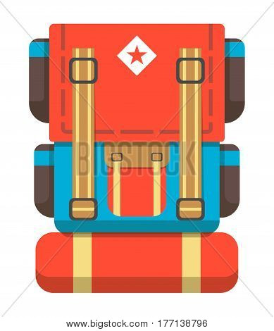 Big travel backpack icon vector illustration isolated on white background. Red and blue tourist back pack in flat design. Camp and hike bag and knapsack.