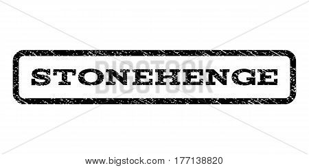 Stonehenge watermark stamp. Text tag inside rounded rectangle frame with grunge design style. Rubber seal stamp with scratched texture. Vector black ink imprint on a white background.