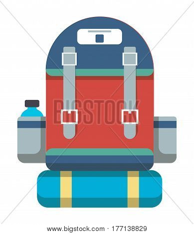 Tourist retro backpack icon vector illustration isolated on white background. Red and blue travel backpack in flat design. Camp and hike bag and knapsack.