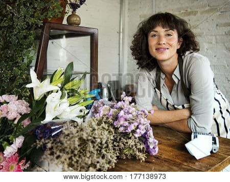 Adult Woman in Flower Shop Portrait