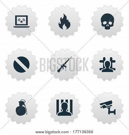 Vector Illustration Set Of Simple Fault Icons. Elements Blaze, Narcotic, Prison And Other Synonyms Uzi, Net And Punishment.