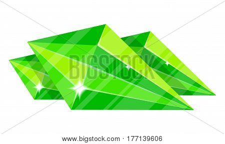 Jewelry emerald icon vector illustration isolated on white background. Green precious stone, colorful gemstones, jewel crystal, cut gem in flat design.
