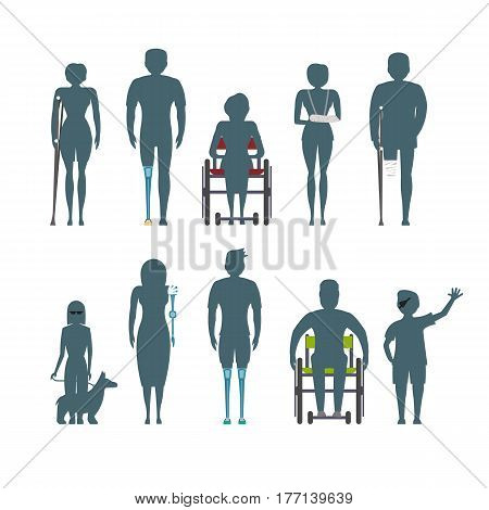 Disabled people silhouette isolated set vector illustration. Invalid person, blind woman, broken arm, people on wheelchair, prosthetic arms and legs. Healthcare assistance and accessibility