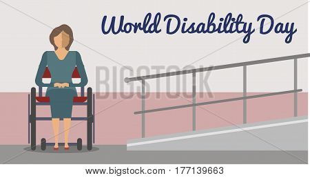 December 3 - world disability day greeting card template vector illustration. Invalid person, young disabled woman on wheelchair in flat design. Healthcare assistance and accessibility concept