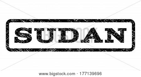 Sudan watermark stamp. Text caption inside rounded rectangle frame with grunge design style. Rubber seal stamp with dirty texture. Vector black ink imprint on a white background.