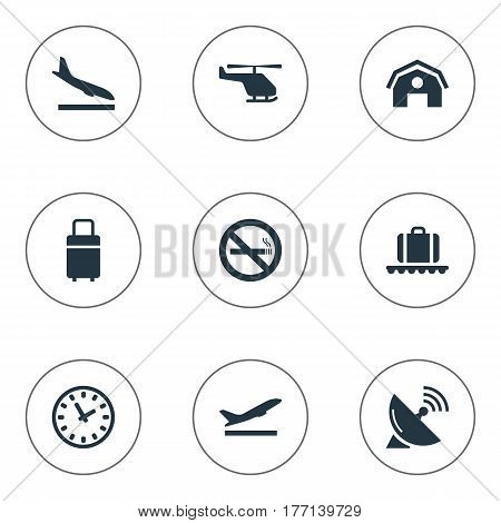 Vector Illustration Set Of Simple Plane Icons. Elements Cigarette Forbidden, Travel Bag, Air Transport And Other Synonyms Takeoff, Shed And Watch.