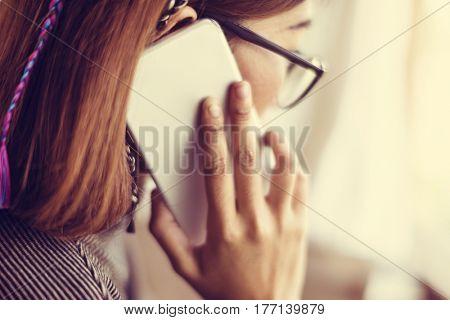 Woman Calling Mobile Phone Communication