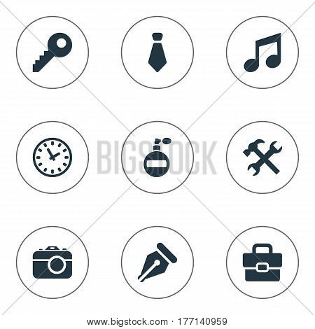 Vector Illustration Set Of Simple Accessories Icons. Elements Digital Camera, Cravat, Business Bag And Other Synonyms Cravat, Necktie And Deodorant.