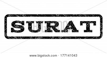Surat watermark stamp. Text caption inside rounded rectangle with grunge design style. Rubber seal stamp with unclean texture. Vector black ink imprint on a white background.