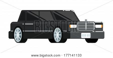 Black luxury limousine icon isolated on white background vector illustration. Modern automobile, people transportation, auto vehicle in flat style.