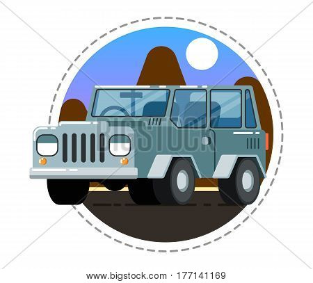 Grey offroad truck icon isolated on white background vector illustration. Modern comfortable jeep, people transportation, auto vehicle in flat style.