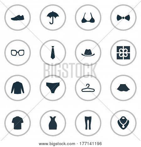 Vector Illustration Set Of Simple Clothes Icons. Elements Eyeglasses, Present, Exercise Foorwear And Other Synonyms Sneakers, Accessory And Necklace.