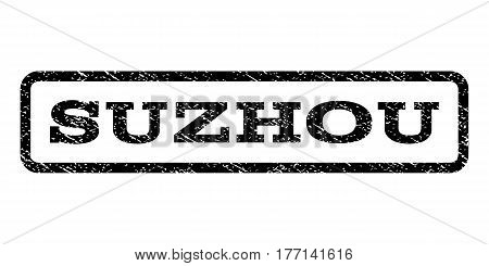 Suzhou watermark stamp. Text tag inside rounded rectangle with grunge design style. Rubber seal stamp with scratched texture. Vector black ink imprint on a white background.