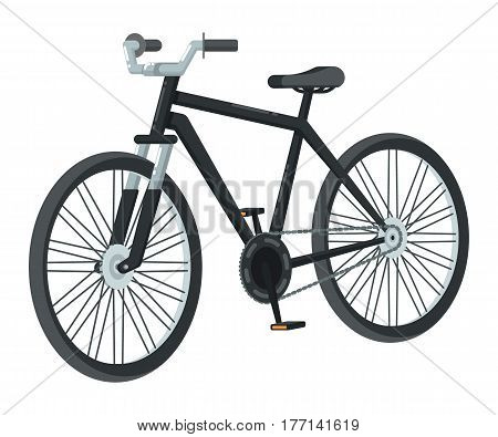 Retro bike icon isolated on white background vector illustration. Cycle or bicycle in flat design. People transportation, eco city vehicle.