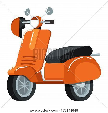 Retro moped icon isolated on white background vector illustration. Motorcycle, scooter or moto bike in flat design. People transportation, city vehicle.