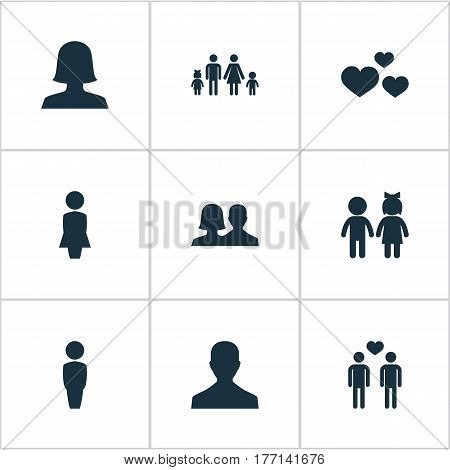 Vector Illustration Set Of Simple  Icons. Elements Lineage, Children, Mister And Other Synonyms Couple, Children And Gay.