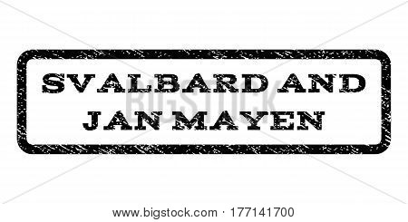 Svalbard and Jan Mayen watermark stamp. Text caption inside rounded rectangle with grunge design style. Rubber seal stamp with dirty texture. Vector black ink imprint on a white background.