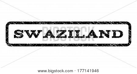 Swaziland watermark stamp. Text tag inside rounded rectangle frame with grunge design style. Rubber seal stamp with unclean texture. Vector black ink imprint on a white background.