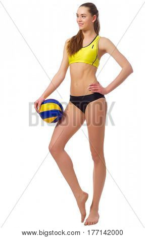 Young girl beach volleyball player isolated