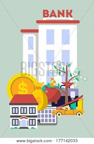 Financial investment banner in flat design vector illustration. Investing in securities, commercial real estate, cash, bank deposits. Financial strategic management and planning service concept