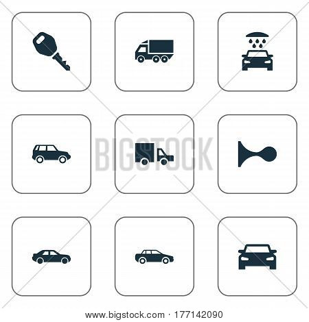Vector Illustration Set Of Simple Auto Icons. Elements Carriage, Key, Vehicle And Other Synonyms Carriage, Car And Transport.