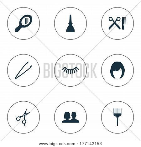 Vector Illustration Set Of Simple Salon Icons. Elements Customers, Nail Polish, Comb And Other Synonyms Woman, Salon And Barber.