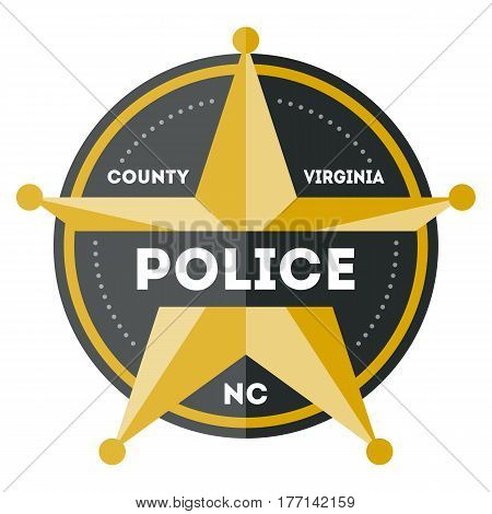 Policeman sign with golden star icon isolated on white background vector illustration. Federal security emblem, state detective label, cop sign in flat design.