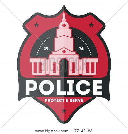 Police law enforcement badge isolated on white background vector illustration. Federal security emblem, state detective label, cop sign in flat design.
