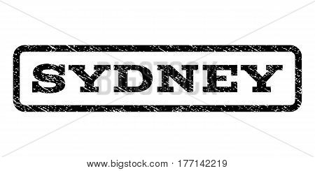 Sydney watermark stamp. Text tag inside rounded rectangle frame with grunge design style. Rubber seal stamp with scratched texture. Vector black ink imprint on a white background.