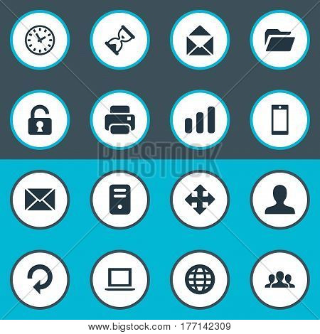 Vector Illustration Set Of Simple Apps Icons. Elements Sand Timer, Refresh, Open Padlock Synonyms Profile, Hourglass And Reload.