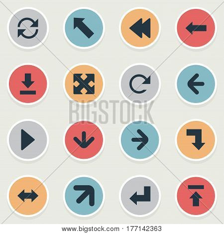 Vector Illustration Set Of Simple Pointer Icons. Elements Right Direction, Downwards Pointing, Downward And Other Synonyms Pointing, Left And Rearward.