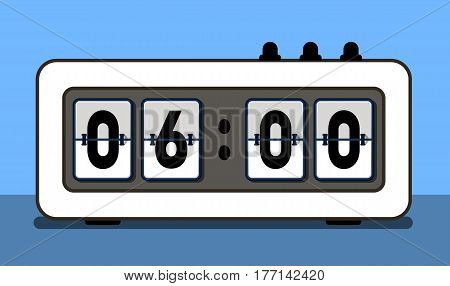 Alarm clock with analog boarding font vector illustration. Isolated retro clock or flip counter panel on blue background. Realistic flip scoreboard, time display board in flat design.