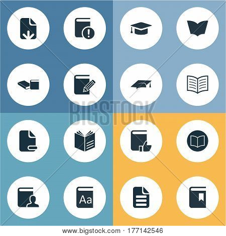 Vector Illustration Set Of Simple Books Icons. Elements Alphabet, Letter, Author And Other Synonyms Blank, Alphabet And Text.