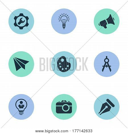 Vector Illustration Set Of Simple Creative Thinking Icons. Elements E-Mail, Bullhorn, Writing Tool And Other Synonyms Bullhorn, Palette And Photography.