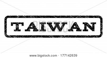 Taiwan watermark stamp. Text tag inside rounded rectangle with grunge design style. Rubber seal stamp with unclean texture. Vector black ink imprint on a white background.