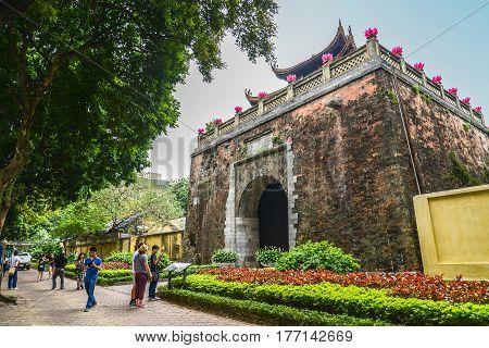 Hanoi Vietnam - Feb 21 2017 : Tourists visiting Hanoi Old Citadel Northern Gate (Thanh Hanoi)