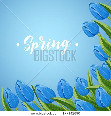 Spring banner with blue blooming tulip branche vector illustration. Floral decorated spring flower design for holiday, seasonal celebration, nature feast congratulation greeting card
