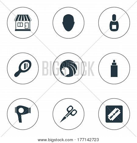 Vector Illustration Set Of Simple Beautician Icons. Elements Glamour Lady, Drying Machine, Supermarket And Other Synonyms Tube, Supermarket And Flask.