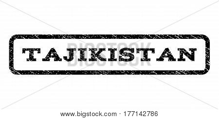 Tajikistan watermark stamp. Text tag inside rounded rectangle with grunge design style. Rubber seal stamp with dust texture. Vector black ink imprint on a white background.