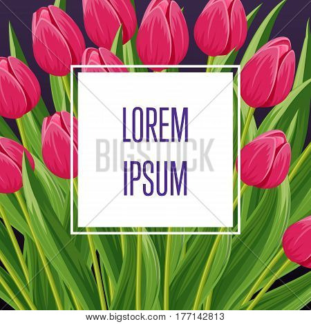 Spring banner with pink blooming tulip flower and copy space vector illustration. Floral decorated spring design for holiday, seasonal celebration greeting card template, nature feast congratulation