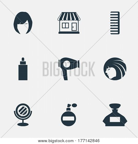 Vector Illustration Set Of Simple Beautician Icons. Elements Aroma, Peeper, Hackle And Other Synonyms Scent, Bottle And Tube.