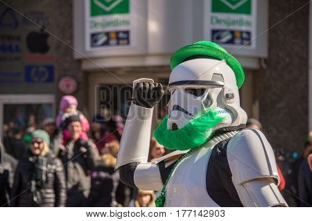 Montreal Canada - 19 March 2017: Stormtrooper with green beard at St. Patrick's parade
