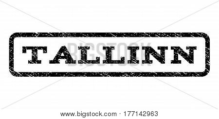 Tallinn watermark stamp. Text caption inside rounded rectangle with grunge design style. Rubber seal stamp with scratched texture. Vector black ink imprint on a white background.