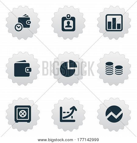 Vector Illustration Set Of Simple Investment Icons. Elements Wallet, Line Chart, Segmentation And Other Synonyms Billfold, Locked And Percent.