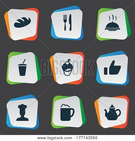 Vector Illustration Set Of Simple Food Icons. Elements Pub, Favorite, Bread And Other Synonyms Soft, Pot And Like.