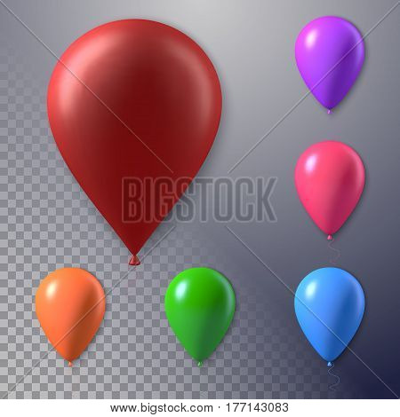 Illustration of Photorealistic Vector Air Balloon Set Isolated on Transparent Background. Happy Birthday Concept