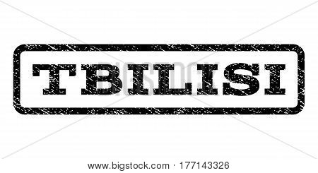 Tbilisi watermark stamp. Text tag inside rounded rectangle with grunge design style. Rubber seal stamp with dust texture. Vector black ink imprint on a white background.