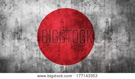 Grunge crumpled Japanese flag background with dirt. 3d rendering