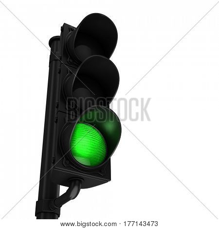 Traffic light with green light isolated on white background. 3d render